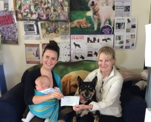 Founder Anna Ludvik presents a cheque for $1300 to Animal Rights and Rescue Group